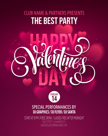 Valentines Day Party Poster Design.  Illustration