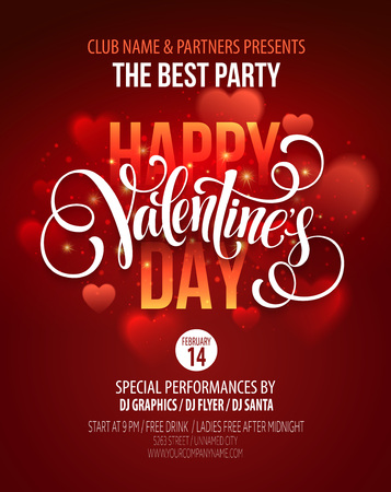 poster: Valentines Day Party Poster Design.  Illustration