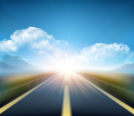 Strada offuscata e blu movimento sfocato cielo con nuvole. Illustrazione vettoriale EPS10 Vettoriali