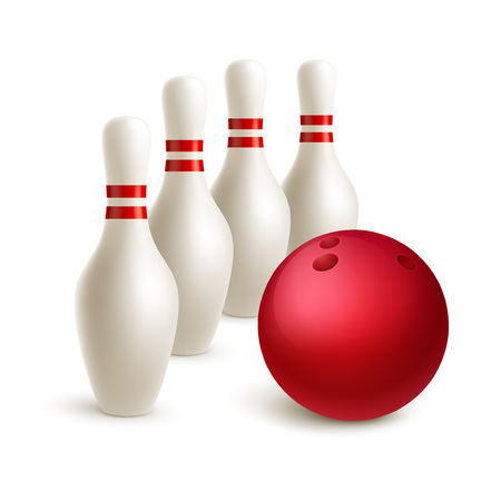 skittle: Scattered skittle and bowling ball.