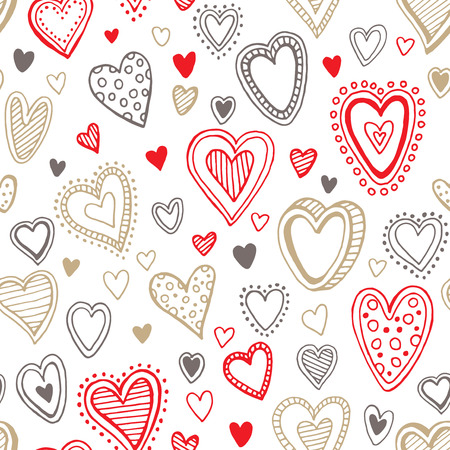 gold heart: Seamless  love red and gold heart background.