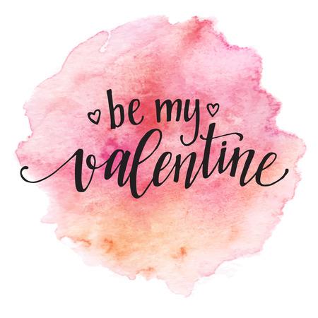 Akwarela Karta Walentynki liternictwo Be my Valentine w różowym tle Akwarele. Ilustracje wektorowe