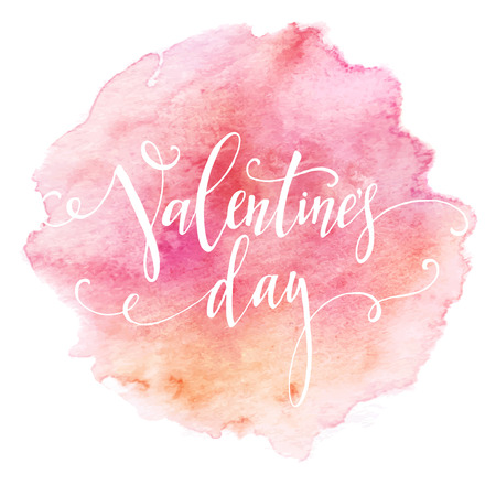 handwritten: Handwritten Valentines Day calligraphy on red grungy watercolor stain background.