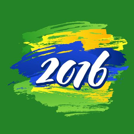 brazilian flag: Background colors of the Brazilian flag with the inscription 2016.