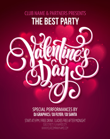 text pink: Valentines Day Party illustration Illustration