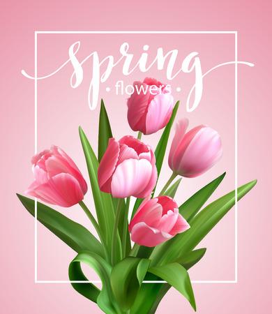 チューリップの花と春のテキスト。ベクトル図 EPS10