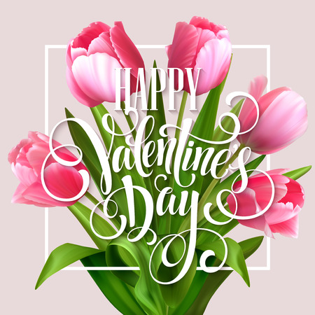 tulips isolated on white background: Valentines day greeting card with tulips flowers. Vector illustration EPS10