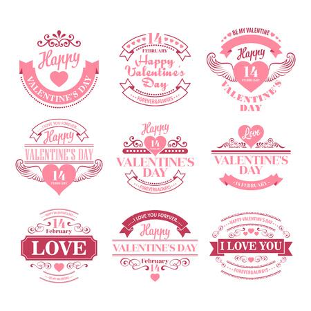 Día de San Valentín Conjunto de elementos de tipografía con corazones. Ilustración de vector EPS10