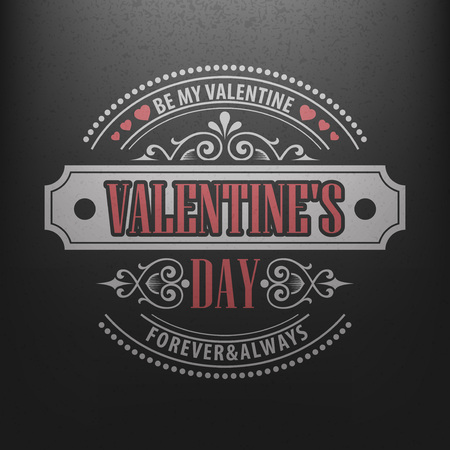 chalk drawing: Typography Postcard Happy Valentine Day on a chalkboard. Vector illustration EPS10 Illustration