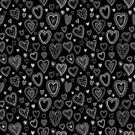 wedding day: Chalk hearts  sketch seamless texture. Vector illustration EPS10