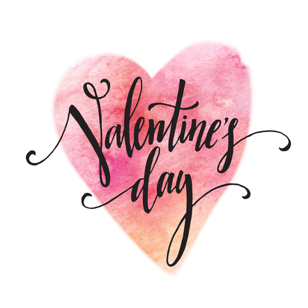 romance: 빨간색 지저분한 수채화 얼룩 배경에 필기 발렌타인 데이 서. 벡터 일러스트 레이 션 EPS10