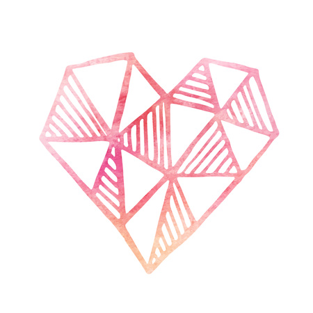 Watercolor painted pink hear. Vector element for your design EPS10