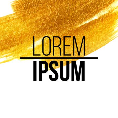 brush stroke: Gold acrylic paint. Vector illustration EPS 10 Illustration