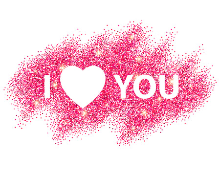 I love you message and heart golden glitter design.  Vector illustration EPS10