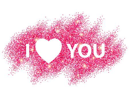 I love you message and heart golden glitter design.  Vector illustration EPS10