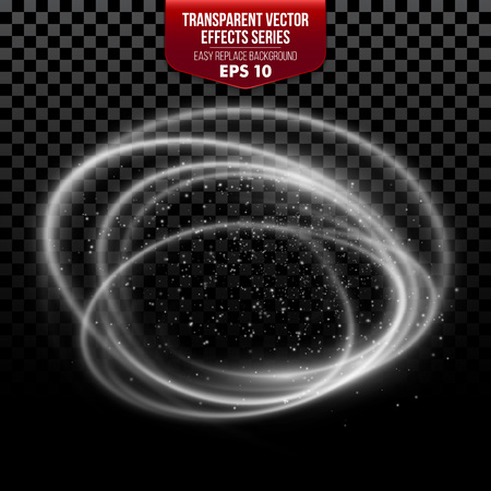 light effect: Trail with particles. Transparent effects. Vector illustration EPS10
