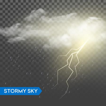 Storm lightning bolt. Isolated on transparentbackground. Vector illustration EPS10