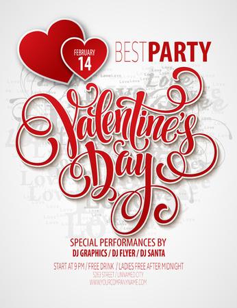happy valentines day: Valentines Day Party Flyer. Vector illustration EPS10 Illustration