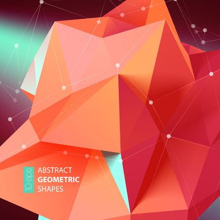 medical heart: Abstract triangles space low poly. Polygonal vector background with connecting dots and lines.