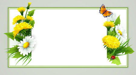 Fresh spring background with grass, dandelions and daisies. Vector Reklamní fotografie - 51704176