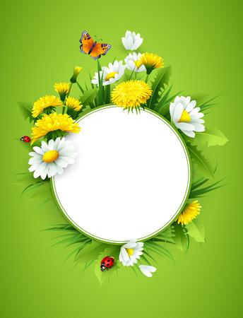 Frisch Frühling Hintergrund mit Gras, Löwenzahn und Gänseblümchen. Vektor