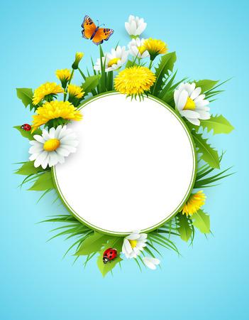 Świeże wiosny tła z trawy, mlecze i stokrotki. Wektor