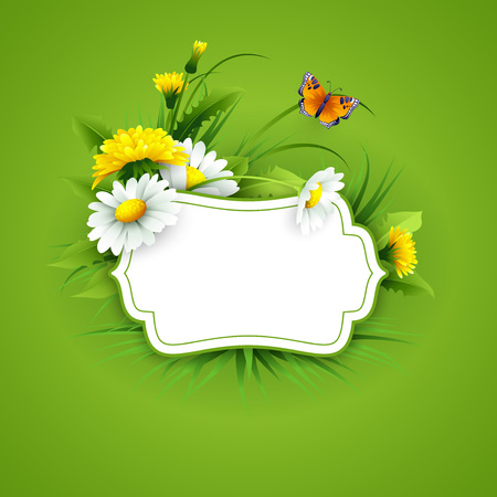 labels: Fresh spring background with grass, dandelions and daisies. Vector