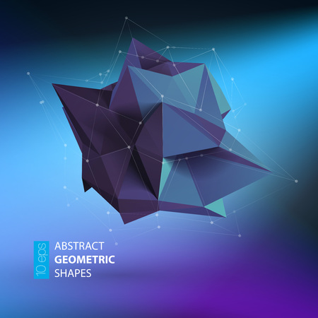 Abstract triangles space low poly. Polygonal vector background with connecting dots and lines.