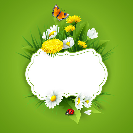 easter flowers: Fresh spring background with grass, dandelions and daisies. Vector