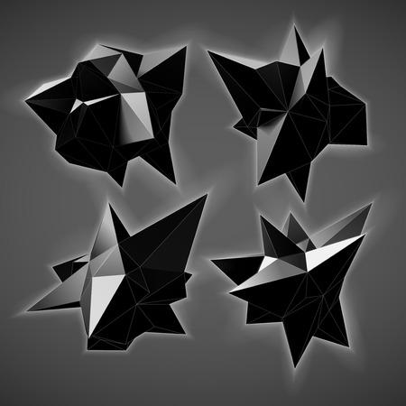Triangles abstraits espace faible poly. Fond de vecteur polygonale avec des points et des lignes de connexion. Vecteurs