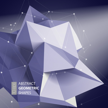 forms: Abstract triangles space low poly. Polygonal vector background with connecting dots and lines.