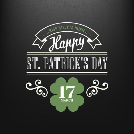 17th: Chalk typographic design for St. Patrick Day. Vector illustration EPS10