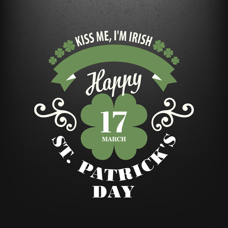 17th of march: Chalk typographic design for St. Patrick Day. Vector illustration EPS10
