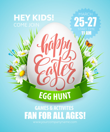 easter sign: Easter Egg Hunt  poster. Vector illustration EPS10