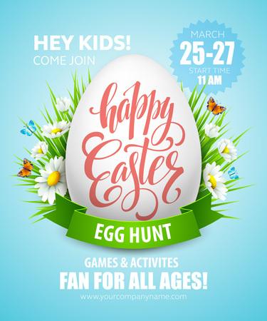 fond de texte: poster Easter Egg Hunt. Vector illustration EPS10