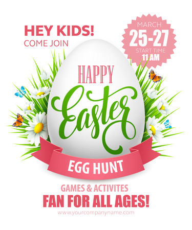 Easter Egg Hunt  poster. Vector illustration EPS10