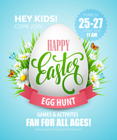 celebrate: Easter Egg Hunt  poster. Vector illustration EPS10