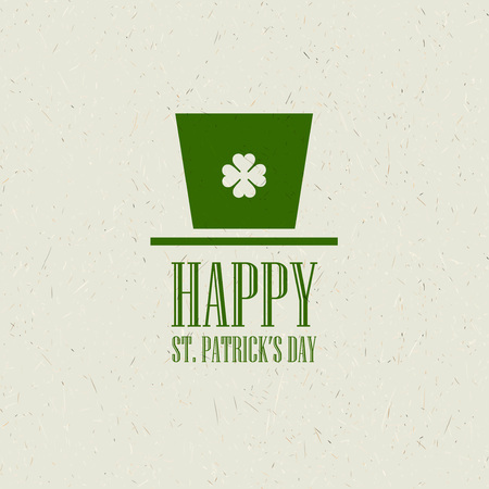 clover face: St. Patricks Day flat card design. Vector illustration EPS10 Illustration