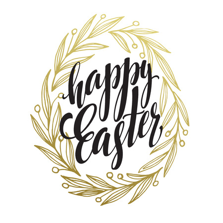garland border: Hand drawn easter greeting card. Golden branch and leaves wreath. Happy easter hand lettering. Vector illustraton EPS10 Illustration