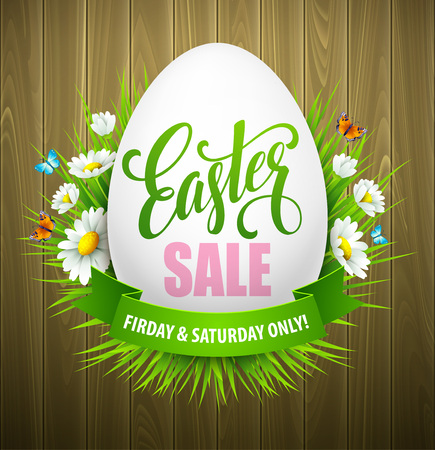 Sun flower: Easter sale background with eggs and spring flower. Vector illustration EPS10 Illustration