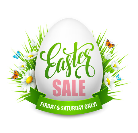 easter background: Easter sale background with eggs and spring flower. Vector illustration EPS10 Illustration