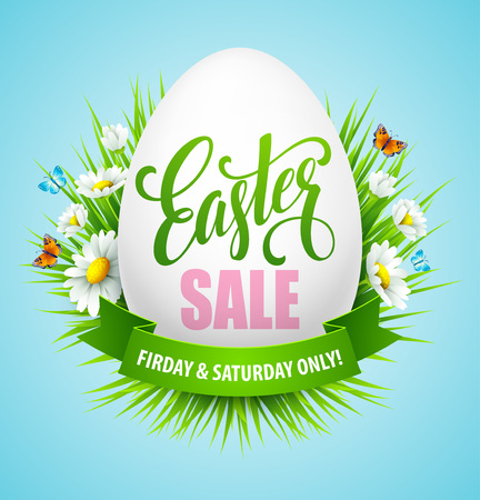 Easter sale background with eggs and spring flower. Vector illustration EPS10