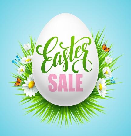 Pasen verkoop achtergrond met eieren en lente bloemen. Vector illustratie EPS10
