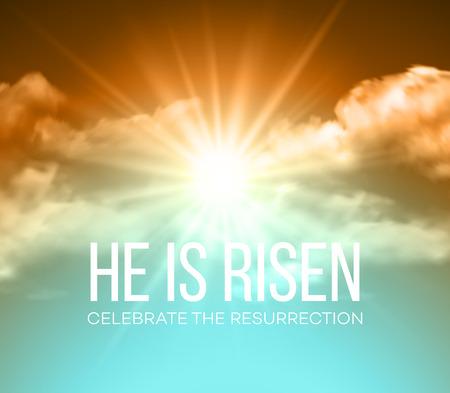religion catolica: Él ha resucitado. Fondo de Pascua. ilustración vectorial EPS10