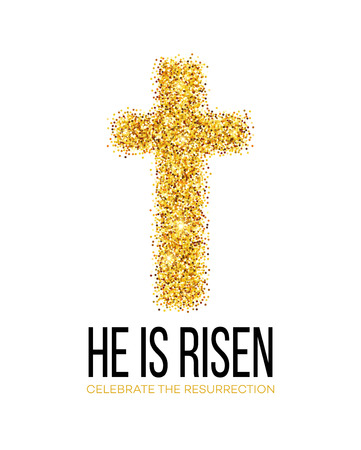 gold cross: He is risen. Easter background. Vector illustration EPS10 Illustration
