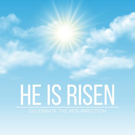 sol: Él ha resucitado. Fondo de Pascua. ilustración vectorial EPS10