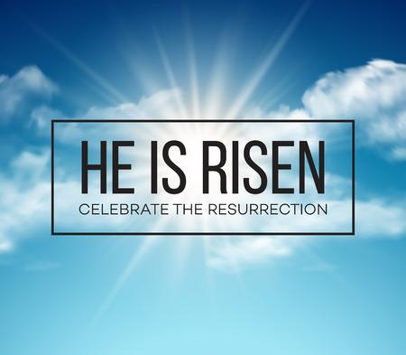 resurrección: Él ha resucitado. Fondo de Pascua. ilustración vectorial EPS10