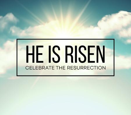cielo: Él ha resucitado. Fondo de Pascua. ilustración vectorial EPS10
