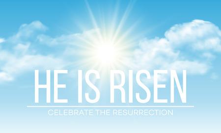 cielo azul: Él ha resucitado. Fondo de Pascua. ilustración vectorial EPS10