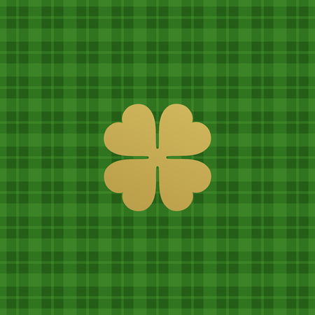 shamrock seamless: Green checkered pattern with clover leaf. Vector illustration EPS10